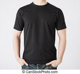 man in blank t-shirt