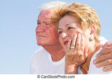 senior lovers outdoors