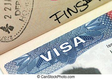 Close up of US visa in passport