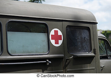 close up on military medic truck