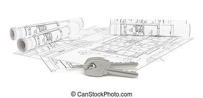 Closeup of keys on blueprint of new home