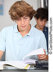 Closeup of student in classroom