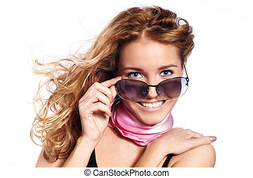 young girl with eye glasses isolat