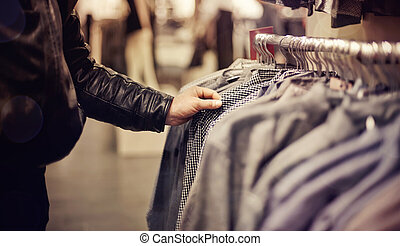 Selection of clothing in the store.