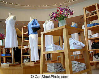 Interior shot of a clothing store
