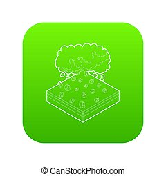 Cloud and hail icon green