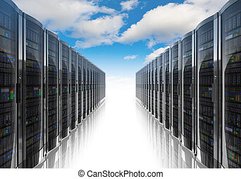 Cloud computing and computer networking concept: rows of network servers against blue sky with clouds Design is my own and all text labels and numbers are fully abstract