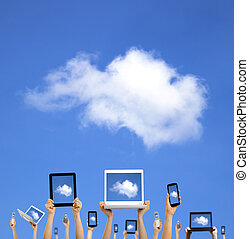 cloud computing concept. hands holding computer laptop smart phone tablet and touch pad