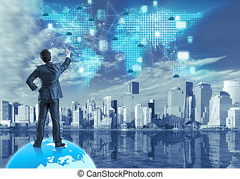Cloud computing concept in technology collage