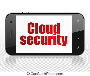Cloud computing concept: Smartphone with Cloud Security on display
