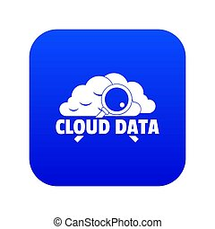 Cloud data icon blue