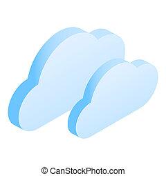 Cloud data icon, isometric style