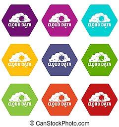 Cloud data icons set 9