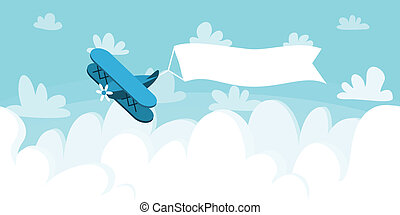 Cloudscape with plane and placard. Vector illustration background.