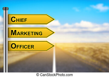 CMO or chief marketing officer words on yellow road sign