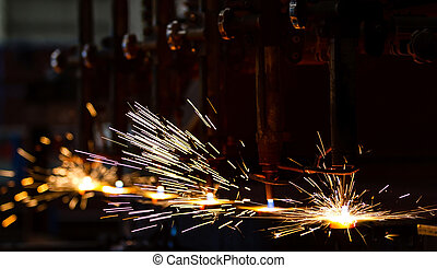 CNC cutting with sparks