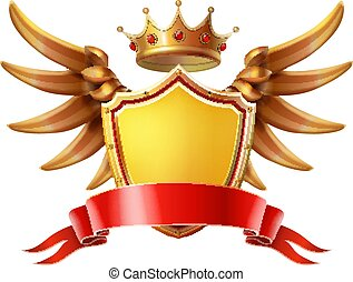 Coat of arms. Golden crown, shield wings