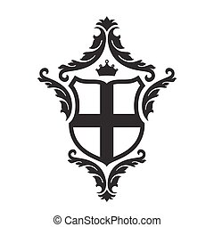 Coat of arms - shield with crossn, crown and floral decor