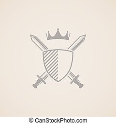 coat of arms. vector illustration with shield, swords and crown.