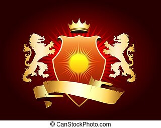 Heraldic Coat of arms with crown, shield, ribbon and golden lions. Vector illustration.