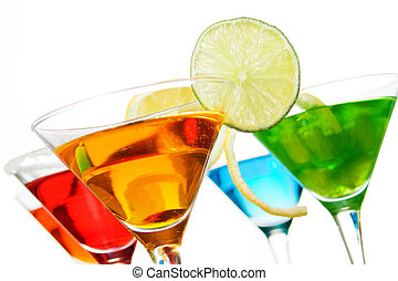 Cocktail drinks with fruit slices isolated on white background