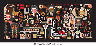 Coffee Making Factory - color vector illustration on black background. .The Magic Factory, where coffee beans are ground and blend with the music sounds, pure water, the fragrance of flowers and mood of the love that will create the most delicious coffee in the world ...