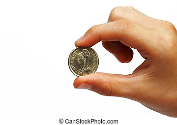 Coin in a man's hand