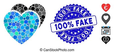 Collage Love Hearts Icon with Textured 100% Fake Stamp