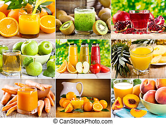 collage of various juice