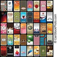 Vector illustration of 40 practical business cards with different motives.