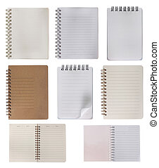 collection of notebook, isolated over white background