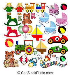 collection of colorful toys. useful for many design jobs. Lossless scalable EPS-file