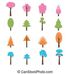 Collection of trees icons set. Seasons theme winter, spring, summer and autumn trees