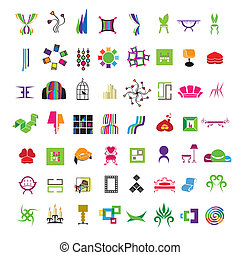 collection of vector icons of furniture and interior