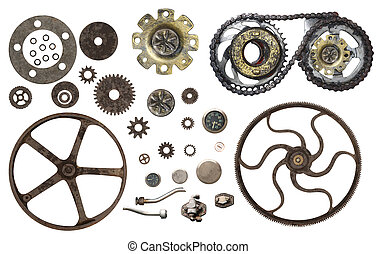 Collection of vintage machine gears