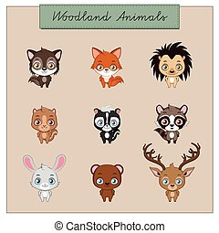 Collection of woodland animals