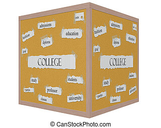 College 3D Cube Corkboard Word Concept