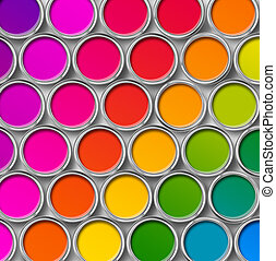 Paint tin color chart, cans opened top view