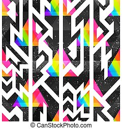Colored geometric seamless pattern with grunge effect.