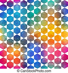 Colored mosaic pattern with grunge effect