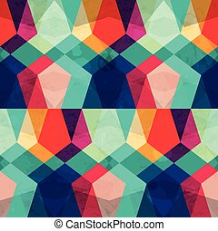 colored mosaic seamless pattern with grunge effect