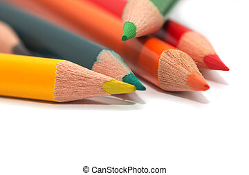 colored pencils. macro