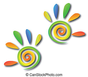 Abstract vector colored spiral hand with fingers