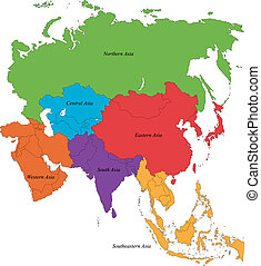 Colorful Asia map with six regions