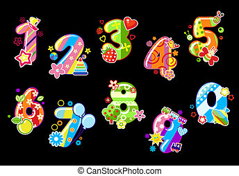 Colorful children numbers and digits with toys and embellishments