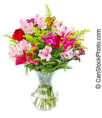 Colorful flower bouquet arrangement centerpiece isolated on white