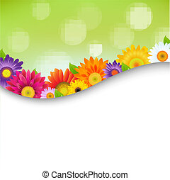 Colorful Gerbers Flowers Poster, With Gradient Mesh, Vector Illustration