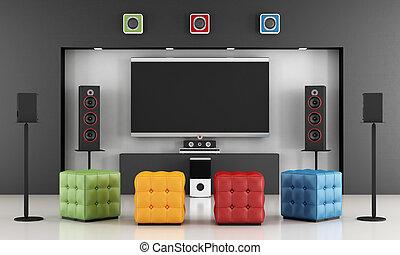 Colorful home cinema
