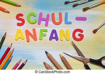 colorful letters, german word, concept school beginning