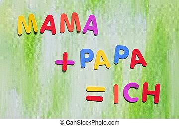 colorful letters, german words, concept Education